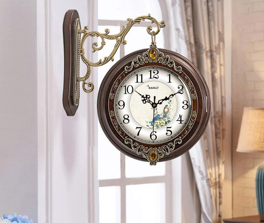 TXXM アメリカのソリッドウッド金属両面壁時計ミュートのヨーロッパのリビングルームテーブルウォールクロッククォーツ時計クォーツ時計の両側に (色 : F f, サイズ さいず : 16 inches) B07FJMHRLLF f 16 inches