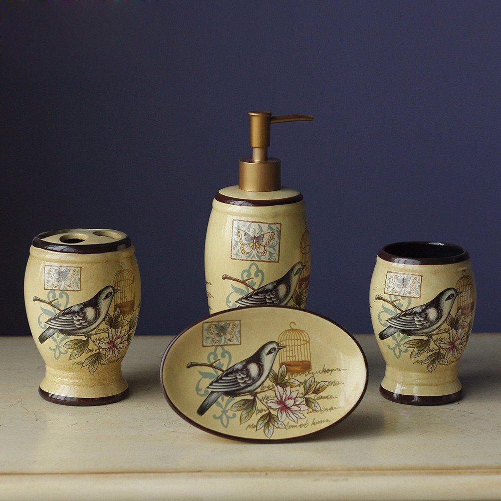 GTVERNH-Recipients Of Gifts Ceramic Bath Kit Bath The Hotel Bathroom Vanity Set Semi-Manual Semi-Mechanical Bathroom Toiletries
