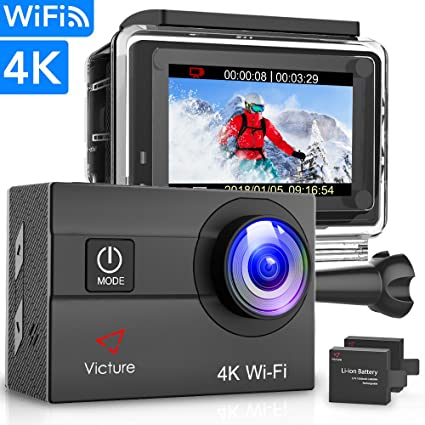 Victure Action Camera 4K WiFi 16MP 98Feet Waterproof Underwater Camera 170°  Wide-Angle 2 Inch Screen Sports Cam with 2 Rechargeable 1050mAh Batteries