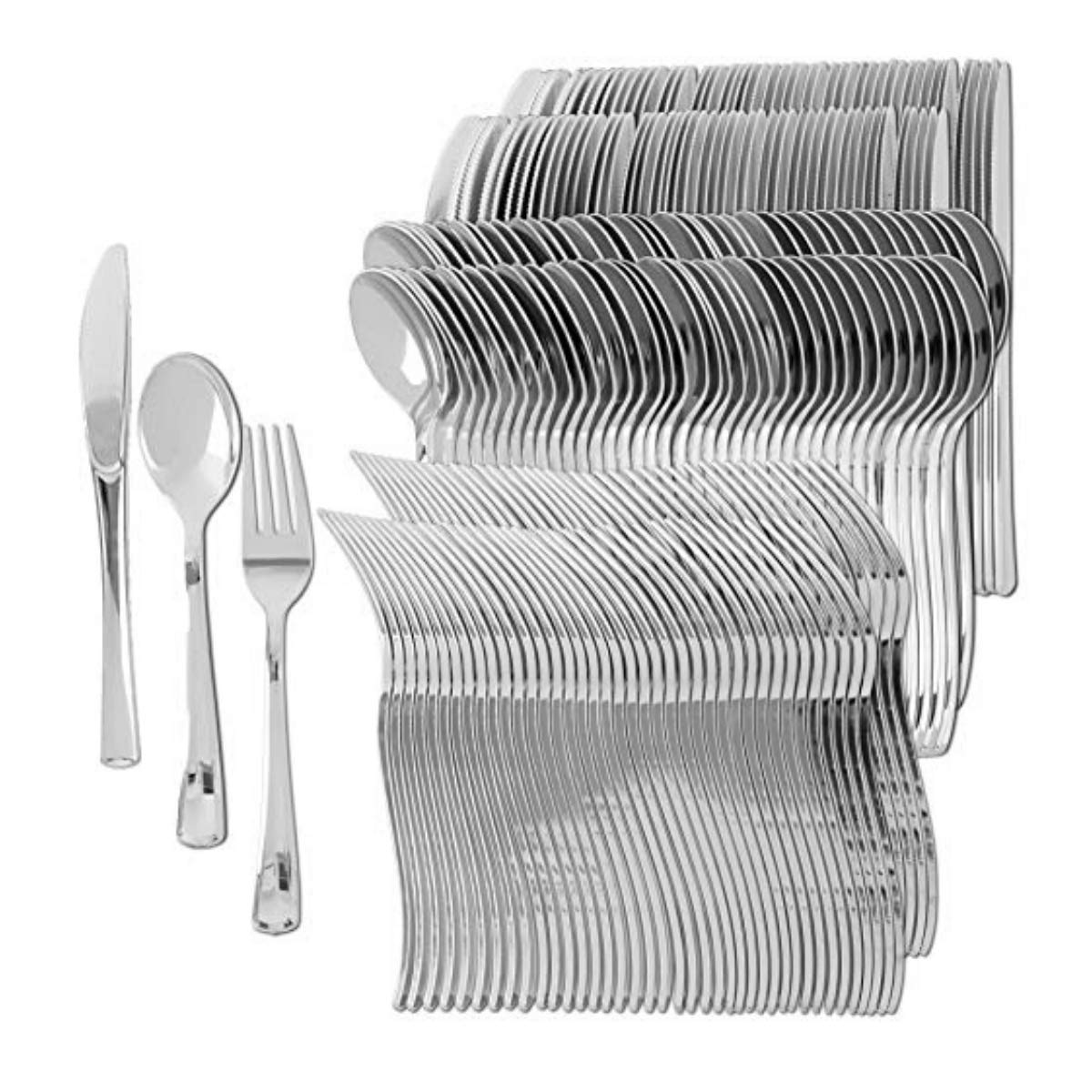 Plastic Silverware | Heavy Duty & Solid Cutlery Disposable Utensils Set | Perfect for Weddings, Buffets, Luncheon & More | 160 Forks, 80 Spoons & 80 Knives Combo Pack | 320 Count