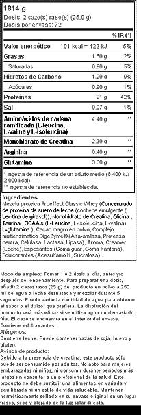 Bodyraise Clásica Proteína de Suero de Leche en Polvo 100% ProEffect - Suplemento Sabor a Chocolate con BCAA, Glutamina y Creatina, 1814 g, 72 dosis
