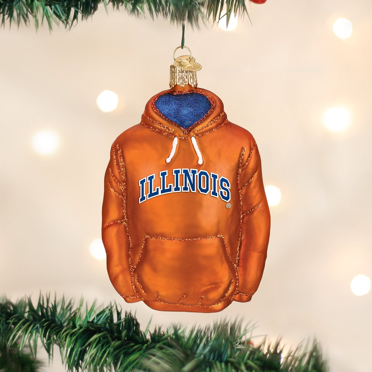 Illinois Hoodie Glass Blown Ornaments for Christmas Tree Old World Christmas Ornaments
