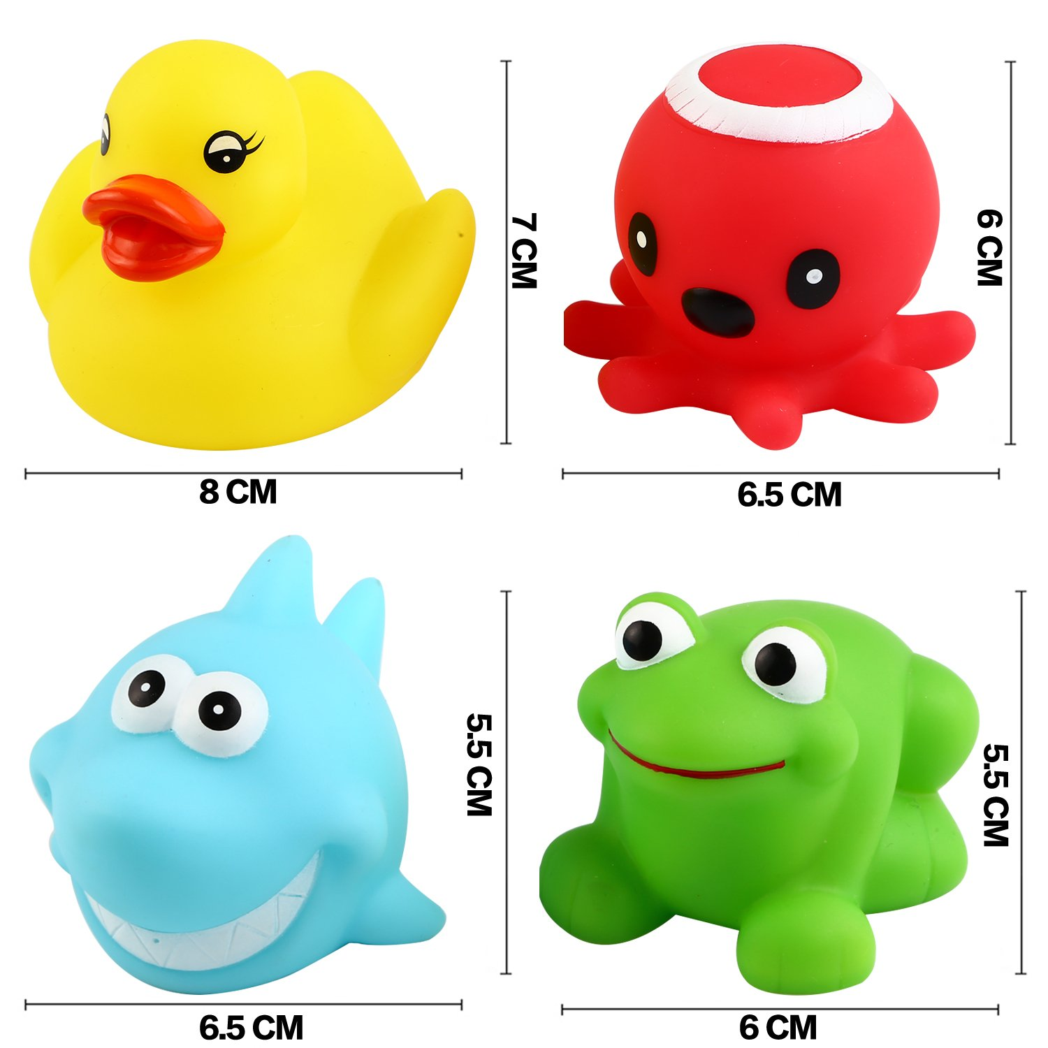 Yeonha Toys Bath Toy,Can Flashing Colourful Light Light Up Baby Shower Bathtime Bathtub Toy for Bathroom Kid Boys Girl Toddler Child,Rubber Ducks Octopus Frog Shark 4 Pack Floating Bath Toy