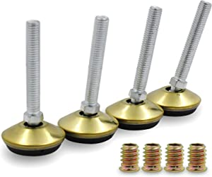 Amgiimor 4 Pack Swivel Furniture Levelers - 1.3'' Dia. Base Adjustable Leveling Feet Glide for Tables Chairs Cabinets Workbench, 3/8''-16 Thread, Brass Color