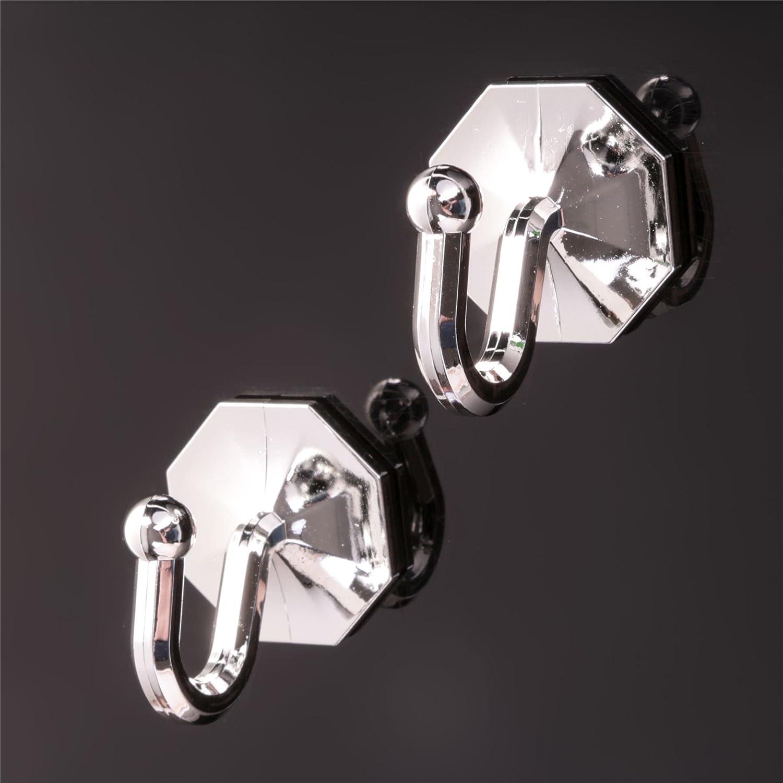 Pack Of 2 Stick On Curtain Tie Backs - Self Adhesive Tassel/Rope/Drapes Holder Hook White Hinge