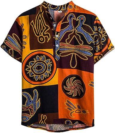 SoonerQuicker Camisas Tops T Shirt 2019 New Mens étnico de Manga Corta de algodón Ocasional de Lino de impresión Camisetas Hawaiana Blusa tee Blusa Tops: Amazon.es: Ropa y accesorios