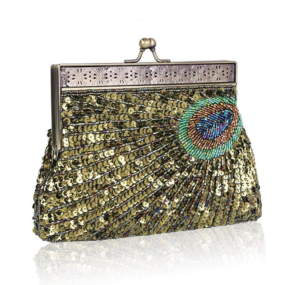 40beeddc9cb6 EROUGE Sequins Beaded Evening Bag Peacock Tail Vintage Clutch Bags ...