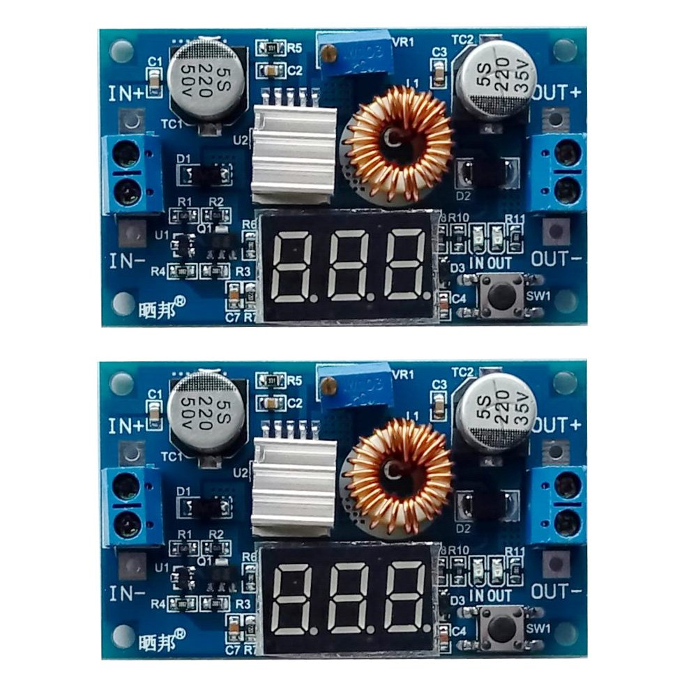 Gowoops 2 PCS of DC DC 5A 75W Step-down Adjustable Converter Power Supply Module with Voltmeter Display, with Heat Sink & Copper Cylinder