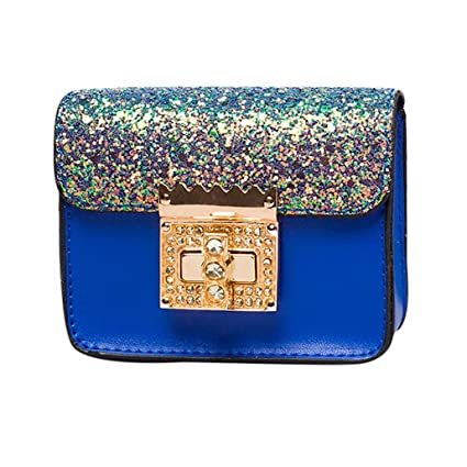0323e934e4656 Amazon.com  Small Shoulder Bag Crossbody Bag For Women Glitter Purse  Evening Messenger Bag With Chain Strap (Blue)  Hattfart