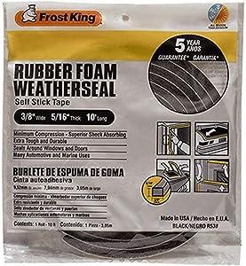 """Frost King R538H Foam Tape, 3/8"""" W, 5/16"""" T, 10 ft L, Black"""