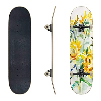 EFTOWEL Skateboards Sunflowers Watercolor Sunflower Stock Illustrations Classic Concave Skateboard Cool Stuff Teen Gifts Longboard Extreme Sports for Beginners and Professionals : Sports & Outdoors