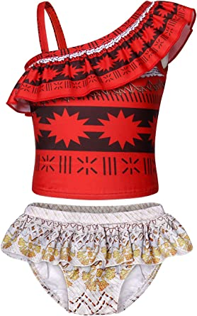 Kids Toddler Summer Swimsuit Girls Moana 2 Piece Swimming Bathing Cosplay Bikini