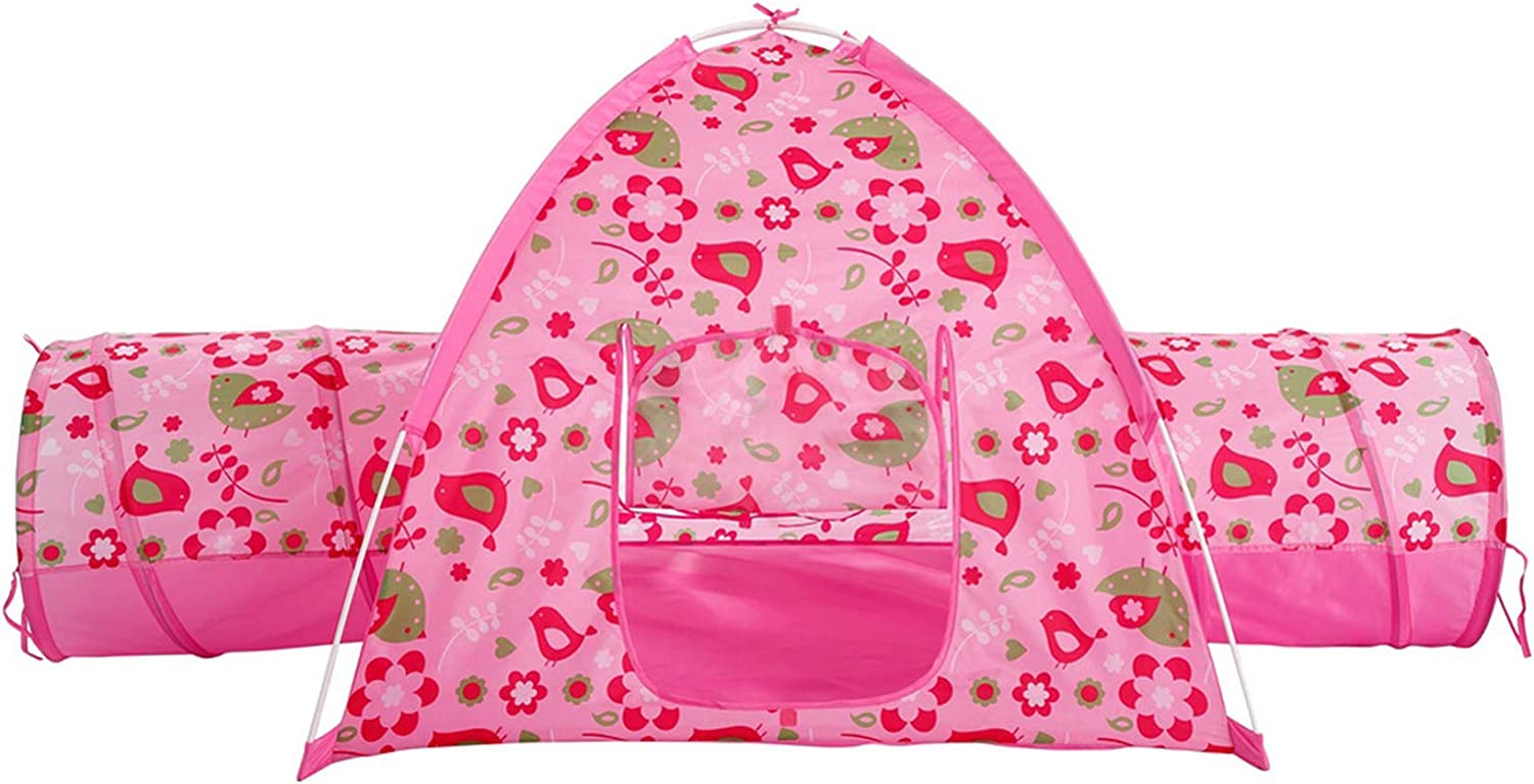 "Alvantor Floral Garden 2 Tunnel Playhouse Toddler Playground Kids Play Tent Indoor and Outdoor Pink Princess House Great Game and Toy Gift for Children Fun, 75.6""x44""x37"""
