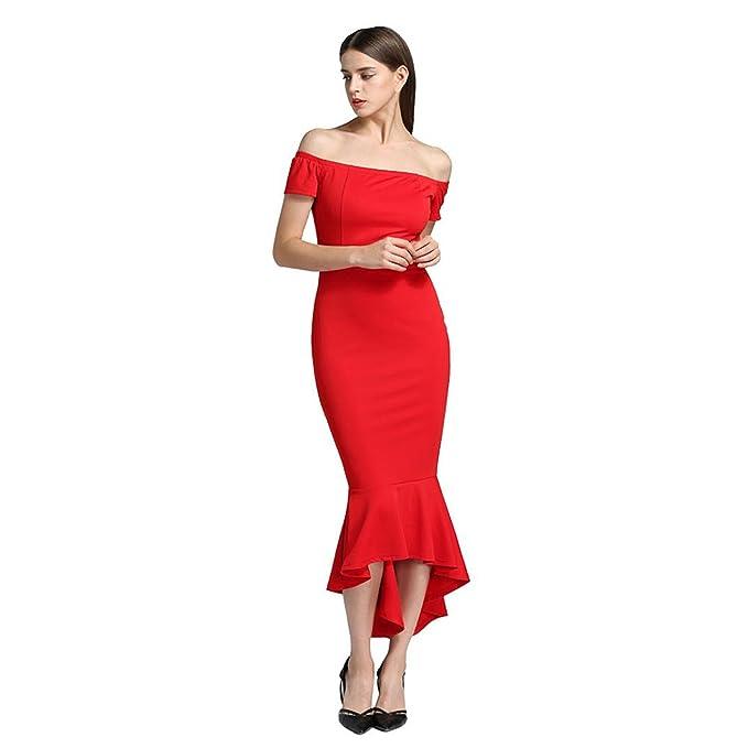 Longra Vestido Vestido para Fiesta, Mujer Vintage Elegantes Moderno Sin Hombros Mujer Noche Fiesta Largo