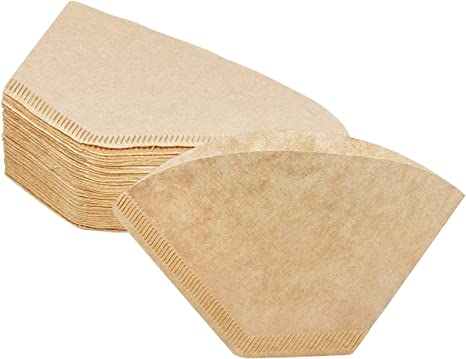 Coffee Filter Papers 40 Pcs Wood Color Cone Disposable Unbleached Natural Filter