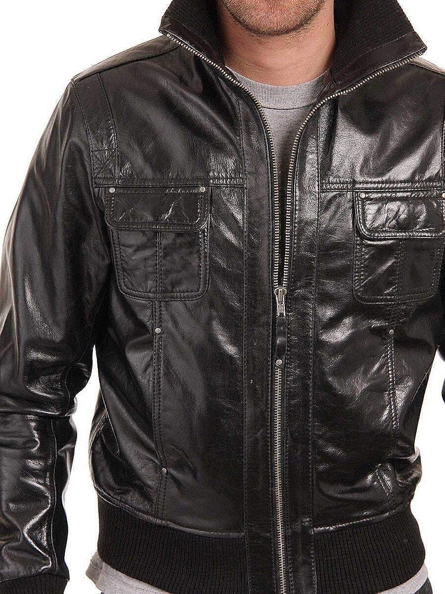 brandMe Mens Genuine Leather Pure Lambskin Biker Jacket MM235