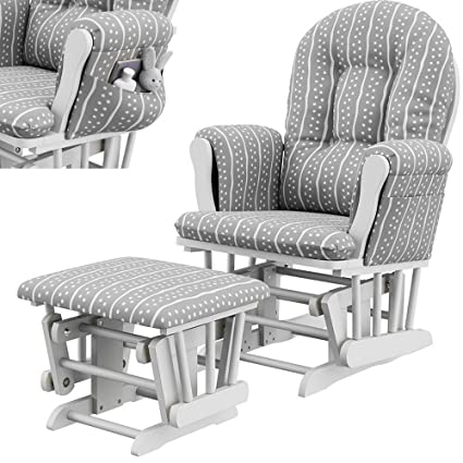 Superieur Glider Ottoman Set White Grey Polyester Microfiber Upholstery Wooden Frame Rocking  Chair With Side Pockets Padded