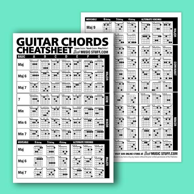 Amazon.com: Guitar Chords Cheatsheet Laminated Pocket Reference ...