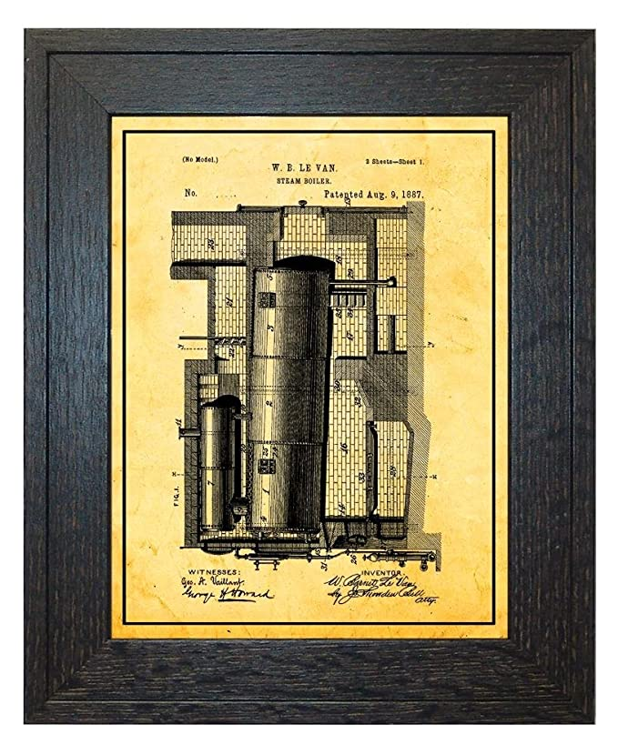 Amazon.com: Steam Boiler Patent Art White Matte Print with a Border ...