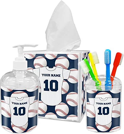 Merveilleux Amazon.com: RNK Shops Baseball Jersey Bathroom Accessories Set  (Personalized): Home U0026 Kitchen
