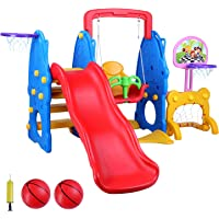 LAZY BUDDY 5 in 1 Toddler Slide and Swing Set, Kids Freestanding Climber Playground, Safe Children Activity Center for Indoor&Backyard, with 2 Adjustable Basketball Hoops, Football Gate, Balls Pump