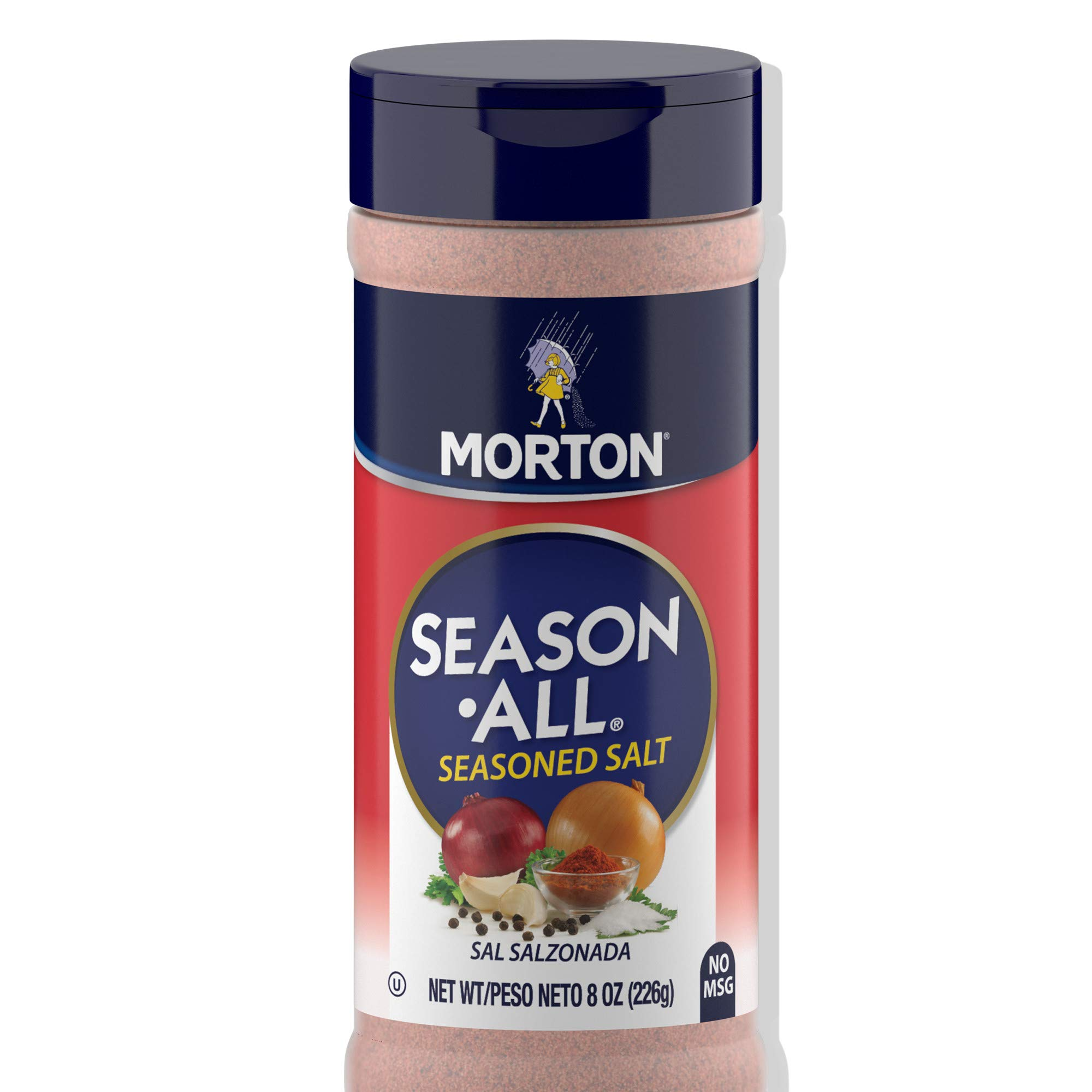 Morton Season-All Seasoned Salt - A Flavorful Blend of Salt and Savory Spices for BBQ, Grilling, and Potatoes, 8 OZ Canister (Pack of 12)