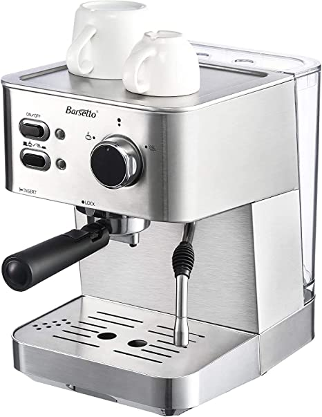 Barsetto Máquina de café espresso de 15 bares, Barista Pro, con función de espumador de leche para capuchino, 1050 W, acero inoxidable, espresso, capuchino, latte macchiato: Amazon.es: Hogar