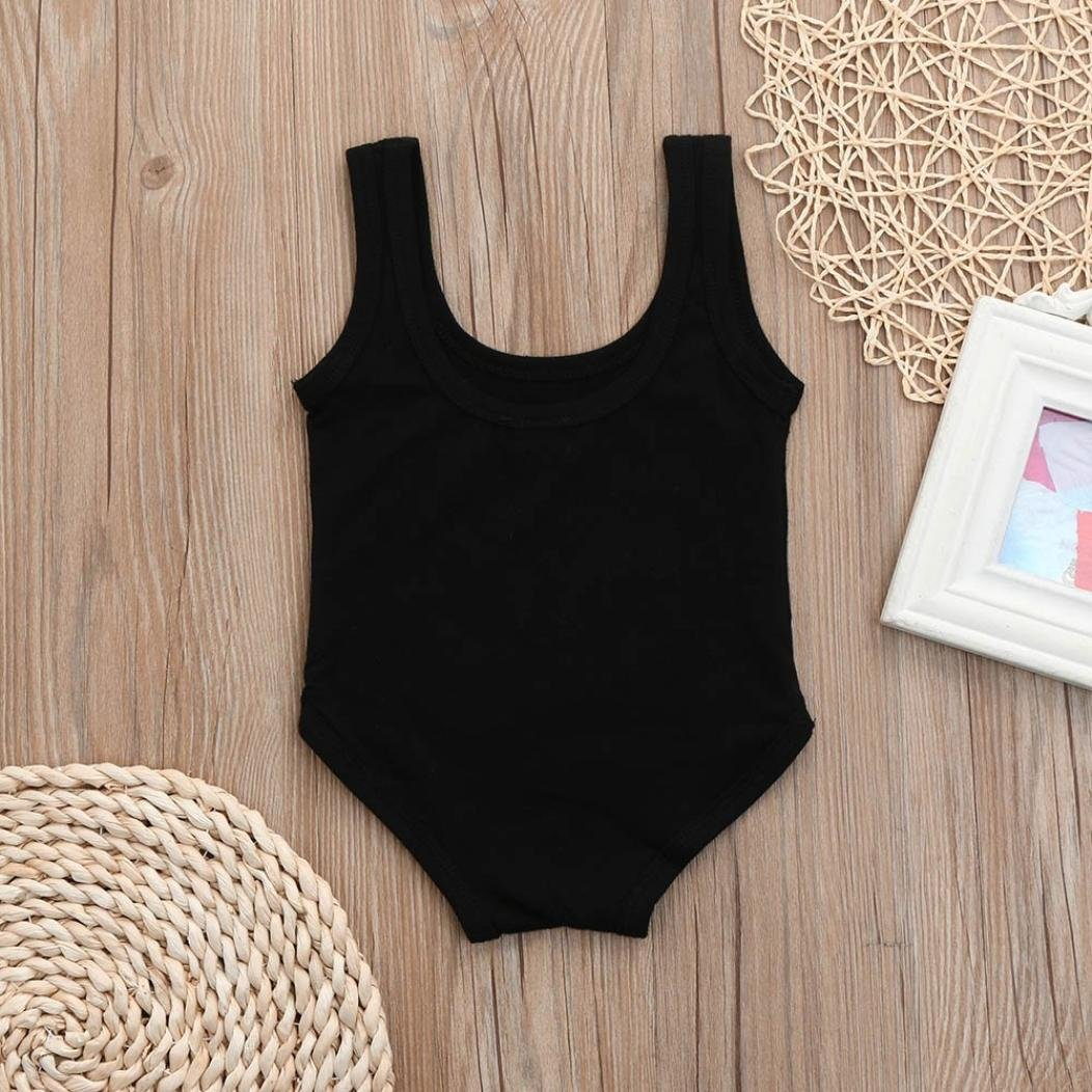 Newborn Toddler Girls Solid Black Letter Print One Piece Swimsuit Swimwear Clothes