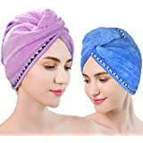 Microfiber Hair Towel Wrap 2 Pack,Drying Bath Shower Head Turban with Buttons, Super Absorbent Quick Dry Hair Towel, Wrapped Bath Cap (Purple+Blue)