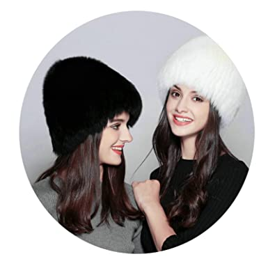 Aooaz Faux Fur Hat Warm Hat for Winter Thick Warm Knitting Wide Stripes Hats  Womens Hat b6d0477f7