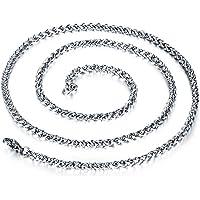 Collar clásico de moda para hombre Acero inoxidable, titanio, cadena de bordillos, collares de eslabones gruesos