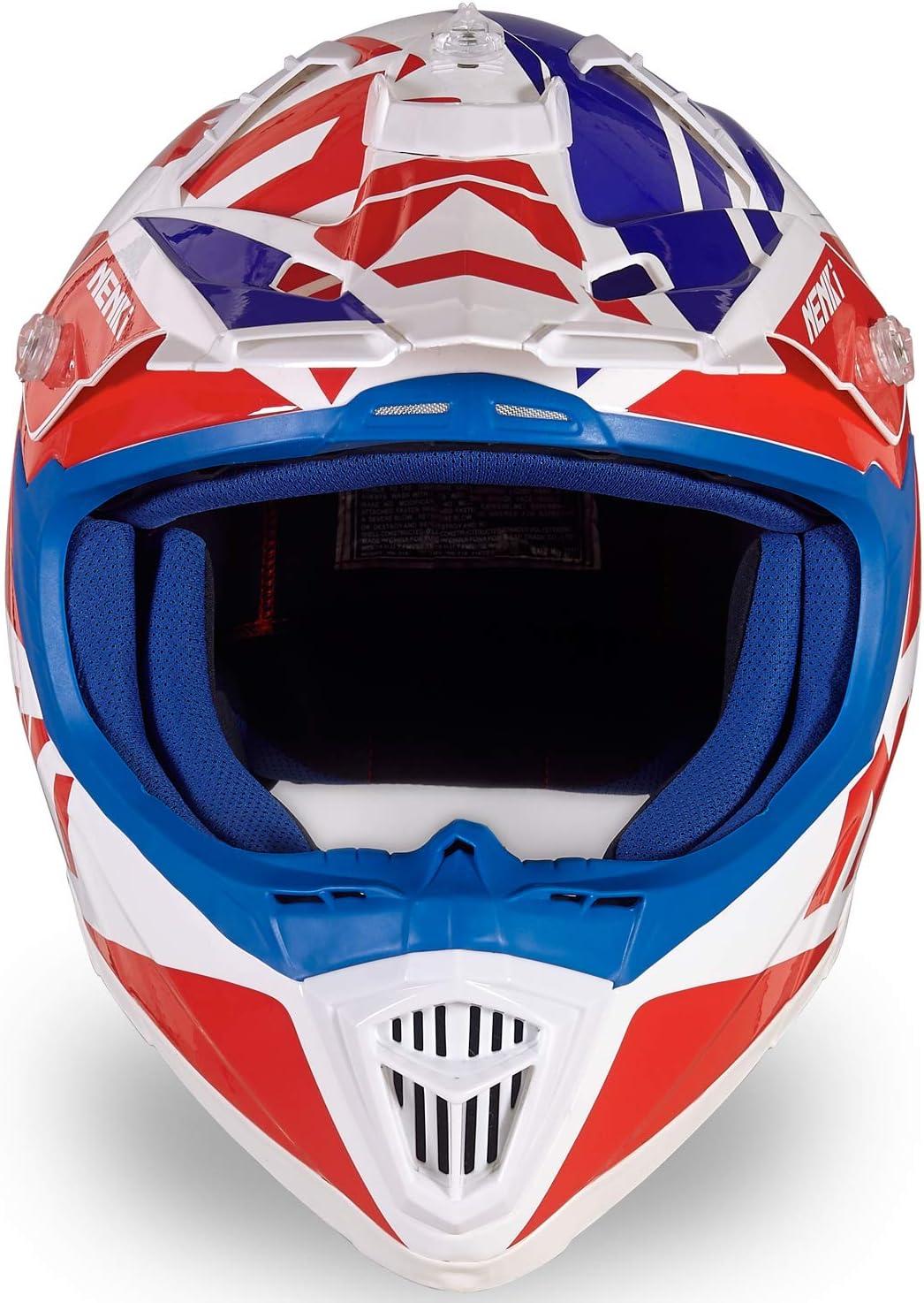 S, Blue Red NENKI Motocross Offroad Dirt Bike Helmet NK-316 Dot Approved for Mens and Womens,Fiberglass Shell