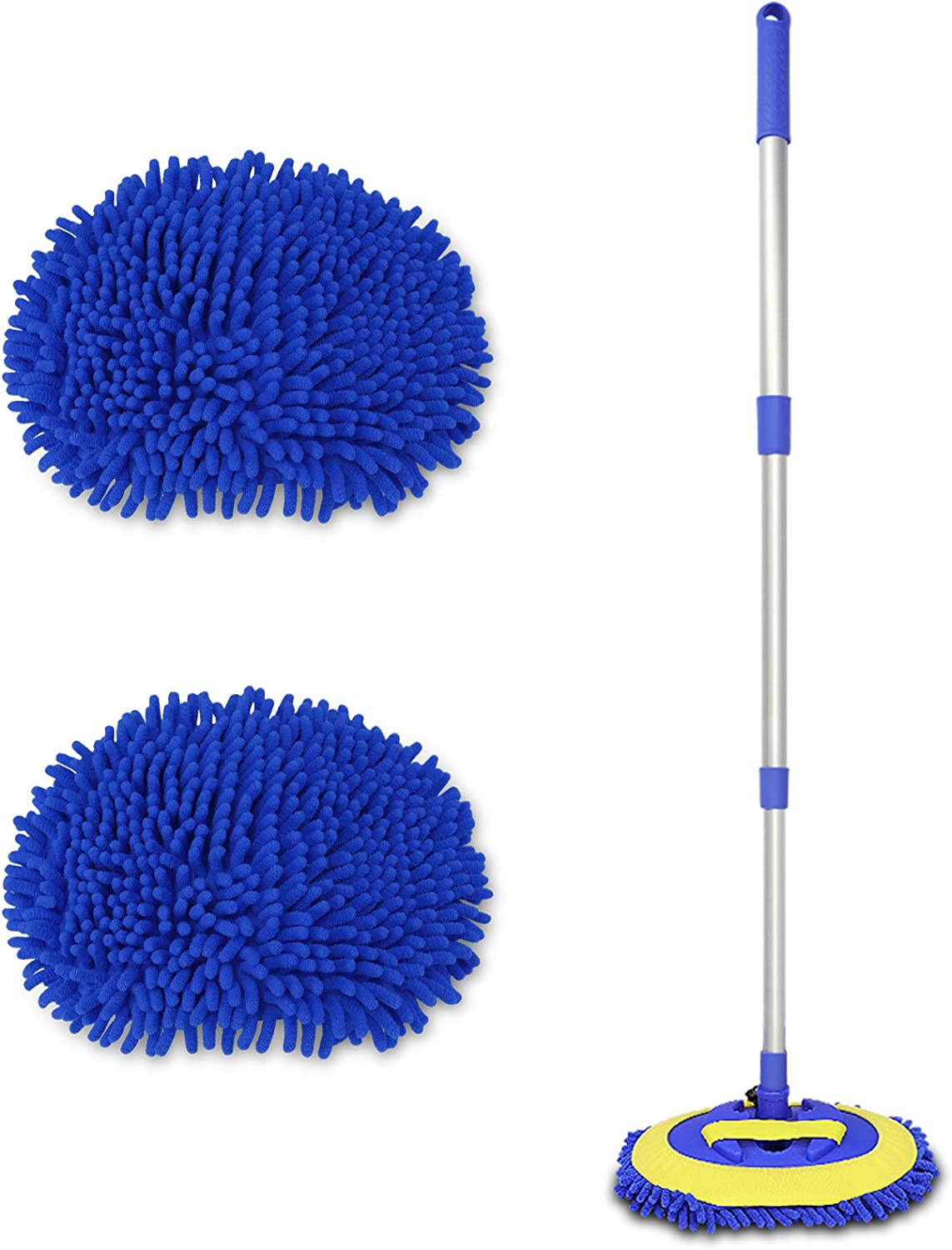 1Car Duster -1Towels Extendable Premium Car Dusters for Exterior and Interior Chenille Microfiber Car Duster Kit Scratch Free Lint Free - Highly Absorbent Polishing Wax Towel