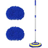"2 in 1 Chenille Microfiber Car Wash Brush Mop Mitt with 45"" Aluminum Alloy Long Handle, Car Cleaning Kit Brush Duster…"