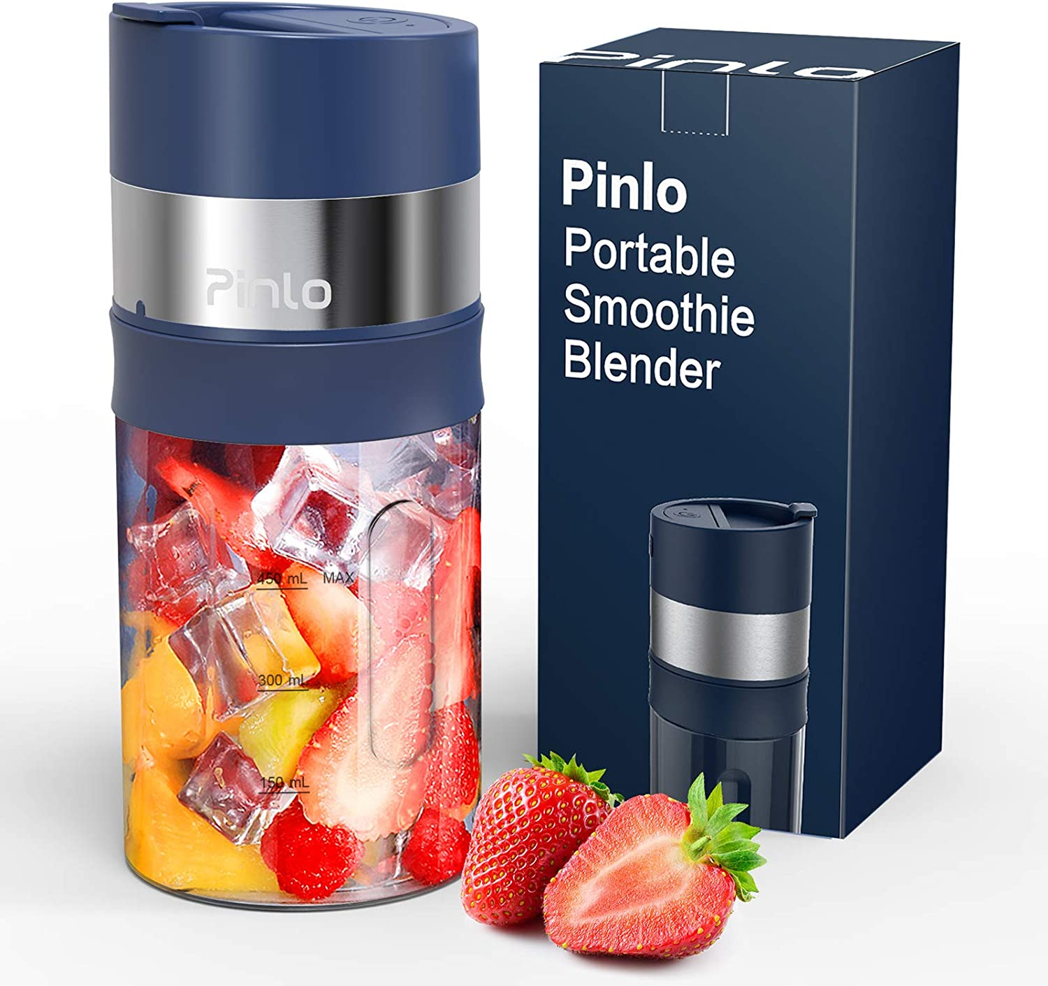 Portable Blender, Personal Size Blender for Shakes and Smoothies, USB Rechargeable Ice Crushing Smoothie Blender, 85 W Mini Blender with 6 Blades, 15 Oz Juicer Cup for Protein Fruit Mixing (Navy Blue)
