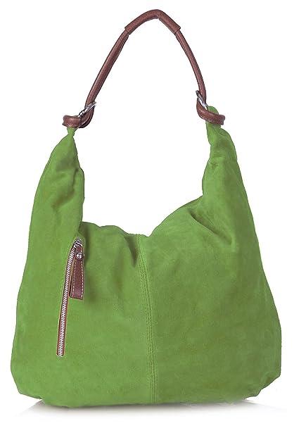 37a3e0d00254 Big Handbag Shop Women Real Italian Suede Leather Large Hobo Shoulder Bag  (Lime Green)