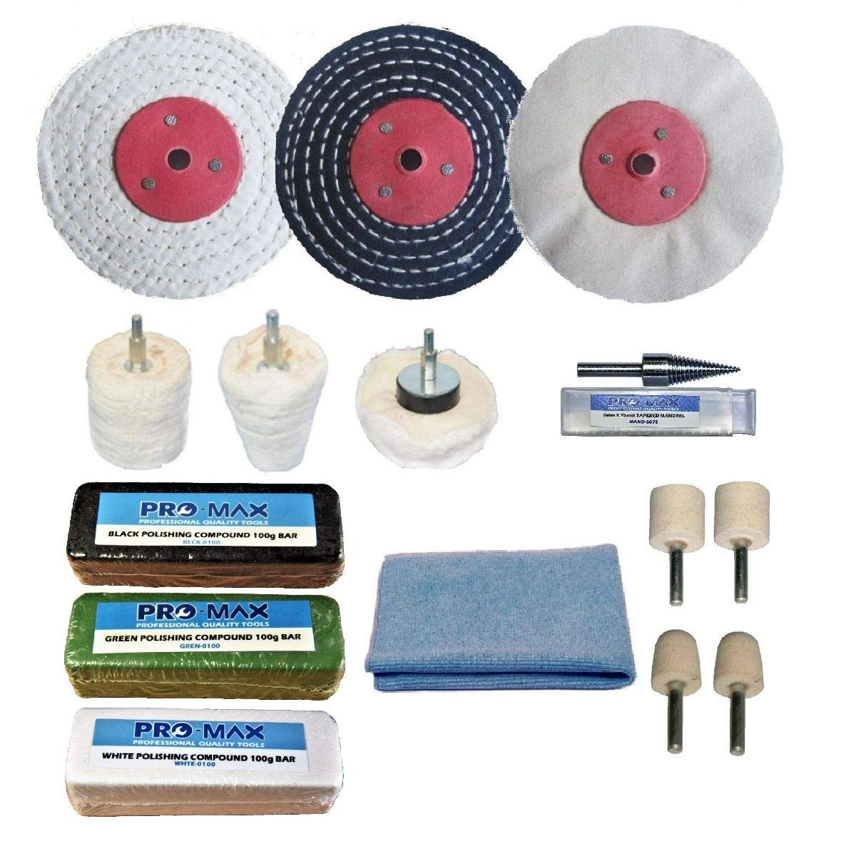 Steel & Stainless Steel Professional Metal Polishing Buffing Kit 3' x 1/2' Pro-Max Quality Tools & Accessories