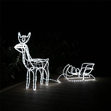 Led rentier mit schlitten beleuchtet weihnachten für aussen innen ...