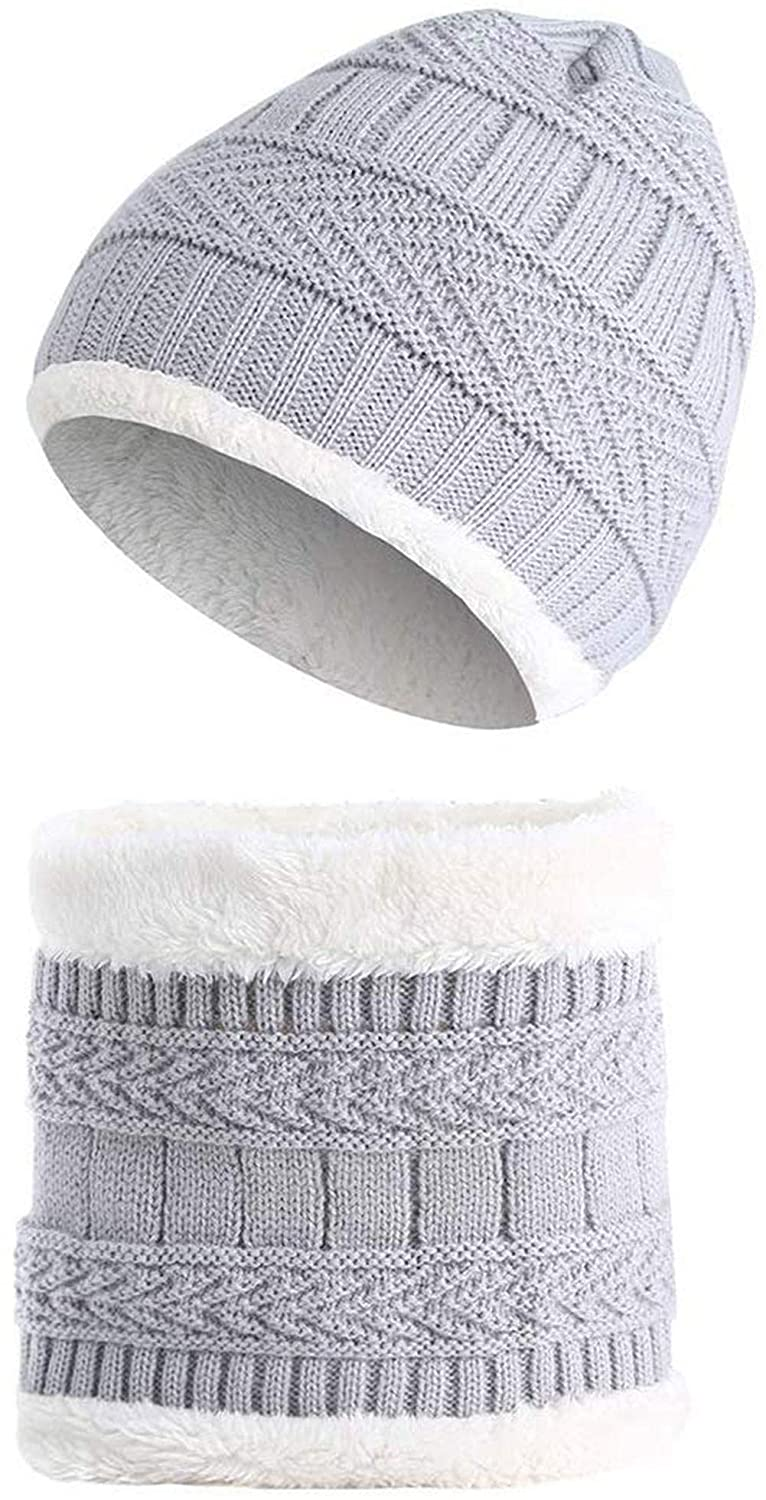 VTOSEN 2Pcs Kids Winter Knitted Hats+Scarf Set Warm Fleece Lining Cap for 5-14 Year Old Boys Girls