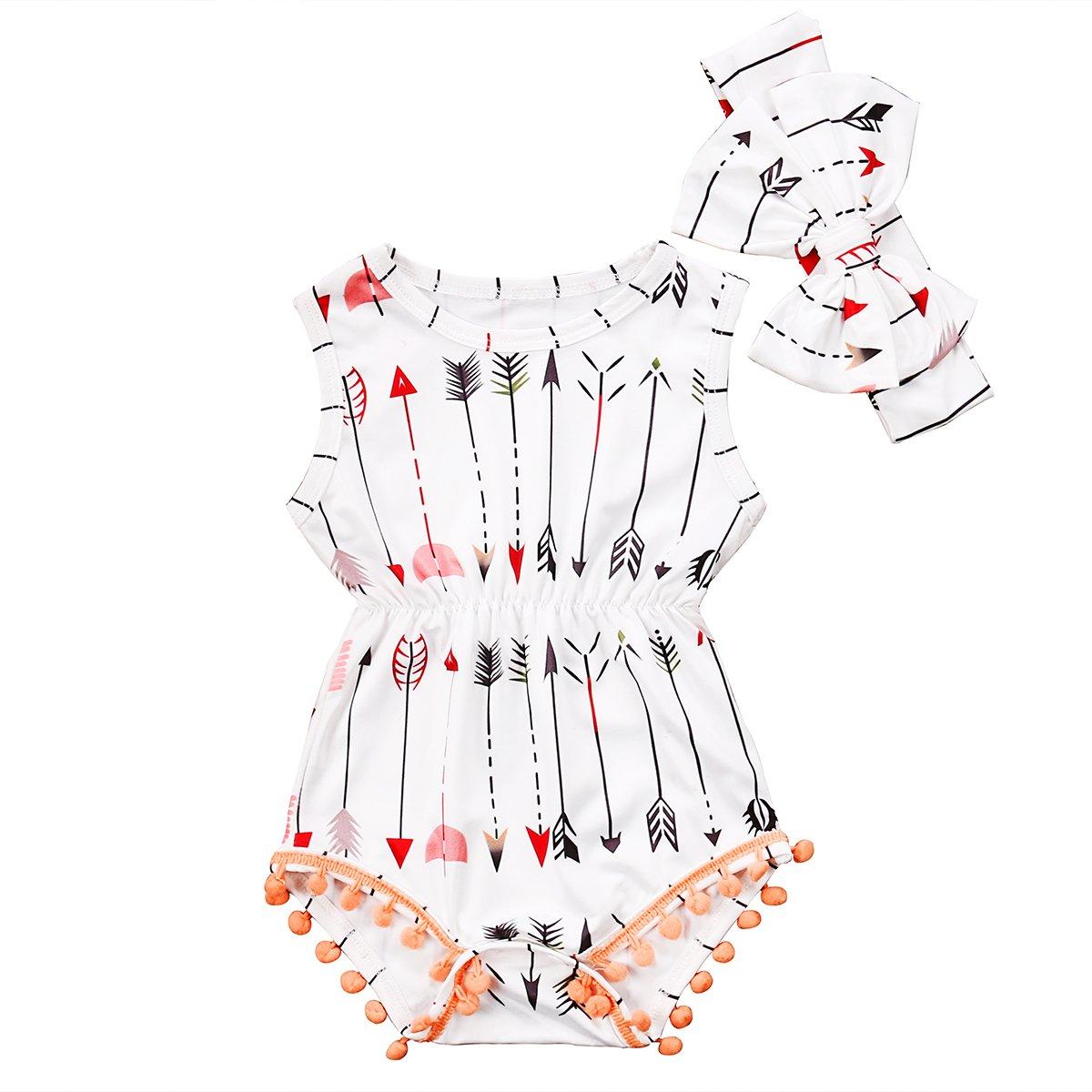 2pcs Baby Boy Girl USA Flag Stars Stripes Pompom Tassel Balls Romper/Arrow Print Romper+Headband (6-12 M, White)