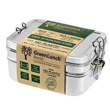 GreenLunch Stainless Steel 3-in-1 Bento Lunch Box