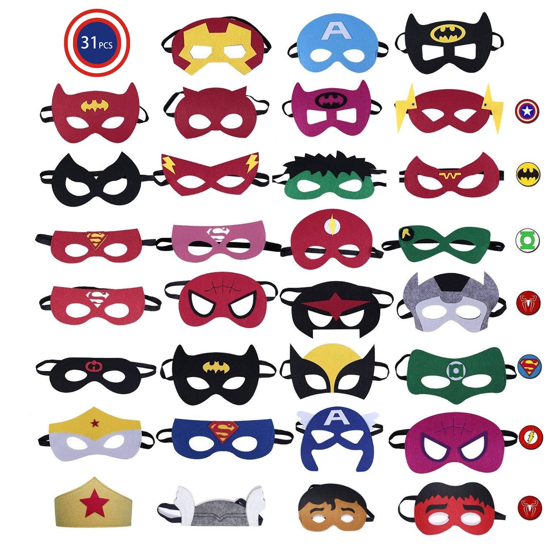 CompraFun 31 Pezzi Maschere di Supereroi, Maschere per Bambini, Supereroe per Feste, Supereroi Maschere Cosplay per Festa, Mascherata, Halloween