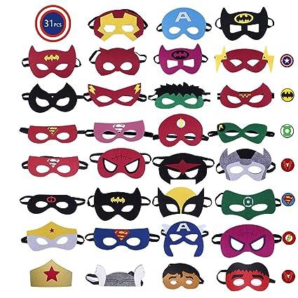 CompraFun Máscaras de Superhéroe, Máscaras Mitad de Fieltro con Cuerda Elástica, Disfraz Cosplay para