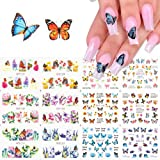 BFY Butterfly Nail Art Decals Sticker Nail Butterfly Flower Design Stickers Holographic Butterfly Nail Art Manicure…