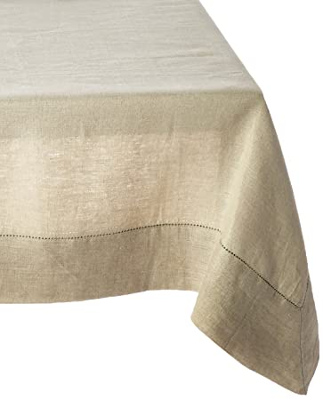 Captivating 100% Linen Hemstitch Table Cloth   Size 60x120 Natural   Hand Crafted And  Hand Stitched