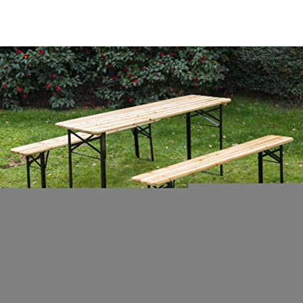 Amazon.com : Outsunny 6ft Wooden German Style Folding Picnic Beer ...