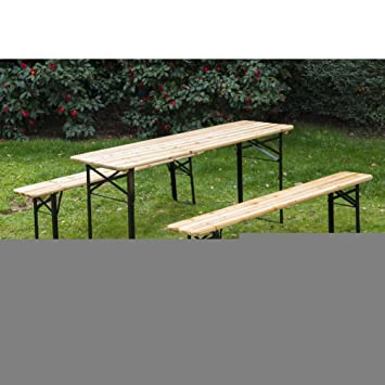 Outsunny 6ft Wooden German Style Folding Picnic Beer Garden Table Set W/ Benches