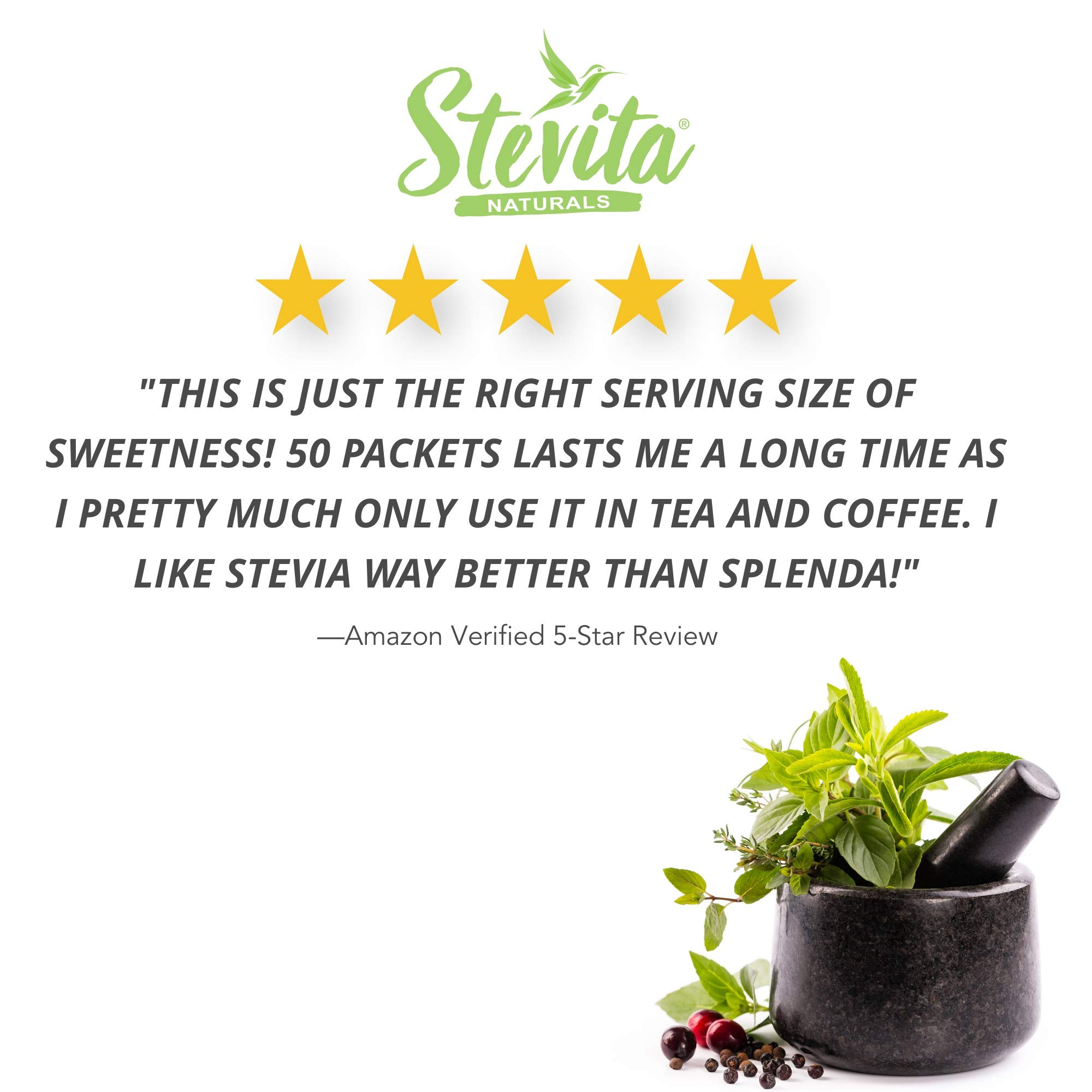 Stevita Stevia Organic Spoonable Stevia Powder - 50 Packets - Stevia & Erythritol All Natural Sweetener, No Calories - USDA Organic, Non GMO, Vegan, Keto, Paleo, Gluten-Free - 50 Servings by STEVITA (Image #2)