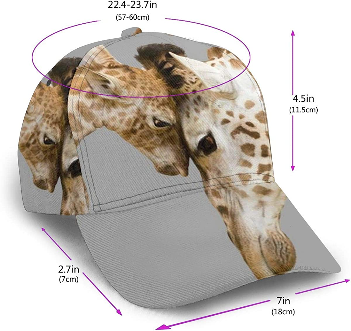 Two Closely Giraffe Womens Classic Hip Hop Baseball Cap 100/% Cotton Unisex Soft Adjustable Size Black