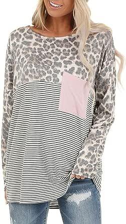 Relipop Women's Blouse Leopard Print Crewneck Stripped Loose Casual T Shirt Tee Tops